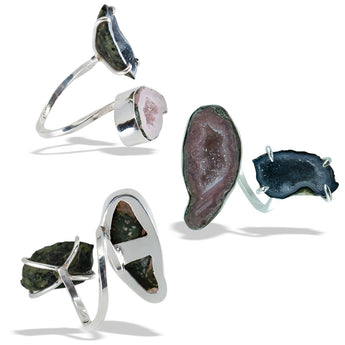 Double Geode Fine Silver Twisted Band Infiniti Ring