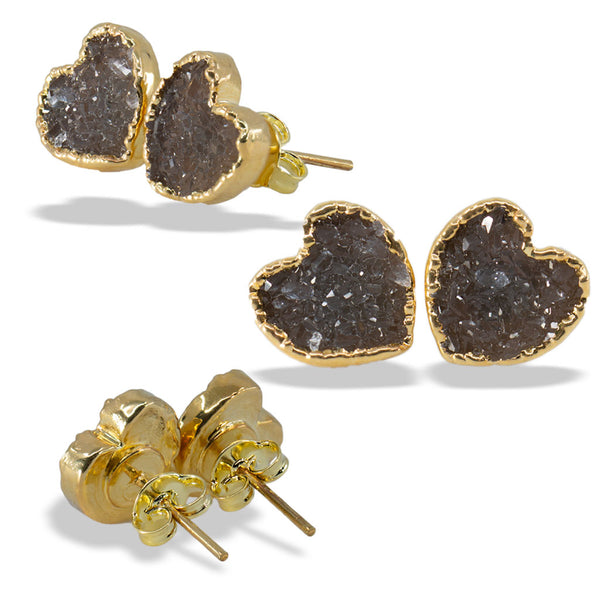 Druzy Heart Gold Sterling Silver Post Stud Earrings