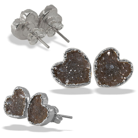 Druzy Heart Silver Sterling Silver Post Stud Earrings