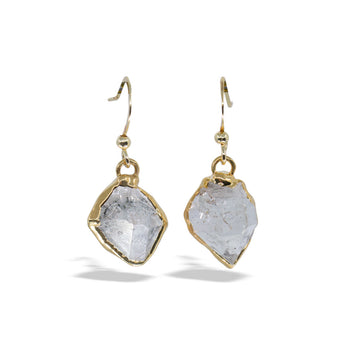 Herkimer Diamond Gold Drop Earrings