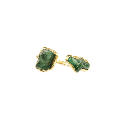 Double Emerald Gemstones 18 Karat Gold Infiniti Ring