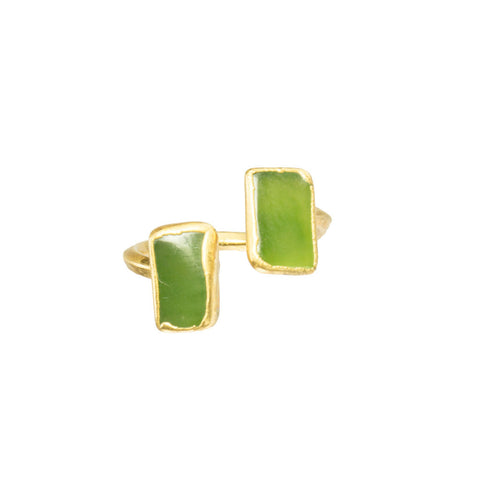 Double Chrysoprase Gemstones 18 Karat Gold Infiniti Ring