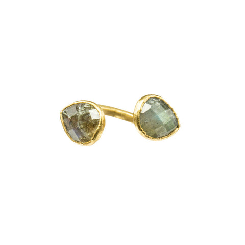 Double Labradorite Gemstone 18 Karat Gold Filled Infiniti Ring