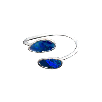 BLACK OPAL GEMSTONES SILVER PLATTED INFINITI RING - ADJUSTABLE