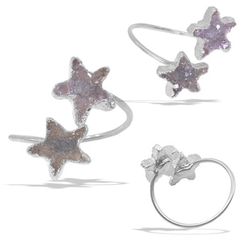 Double Star Druzies Silver Infiniti Ring