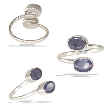 Double Tanzanite Bezel Sterling Silver Infiniti Fine Ring