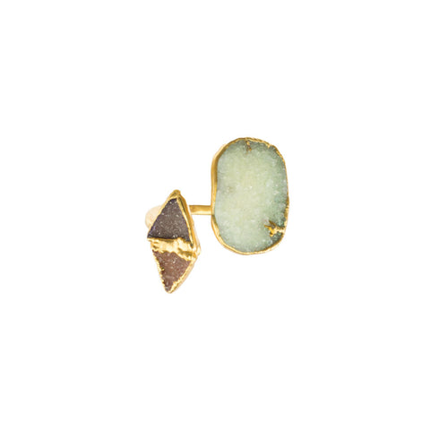Double Triangle and Free Form Druzy 18 Karat Gold Infiniti Ring
