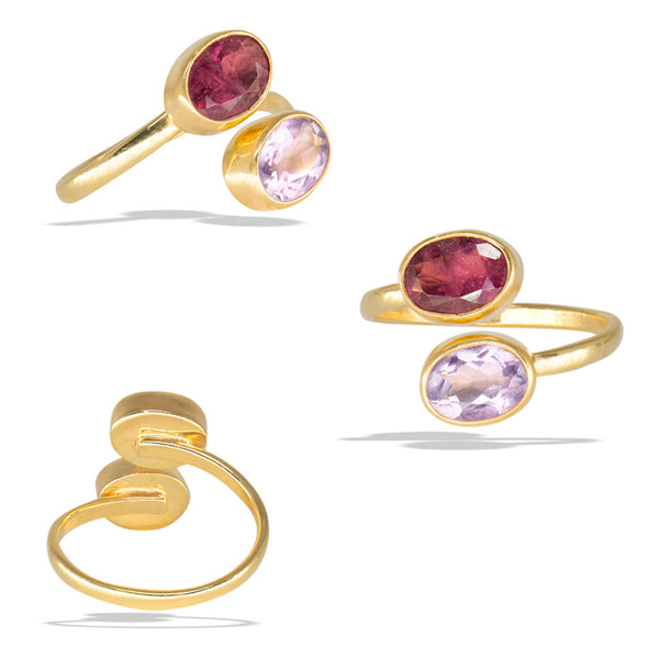 Watermelon Tourmaline Bezel Gold Infiniti Fine Ring