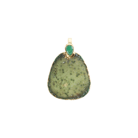 Druzy and Chrysoprase Pendant Bar and Link Chain Necklace