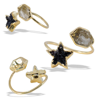Druzy Star Herkimer Gold Infiniti Ring