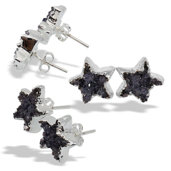 Druzy Star Silver Sterling Silver Post Stud Earrings