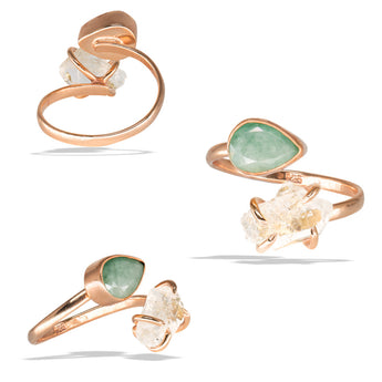 Emerald Bezel Herkimer Prong Rose Gold Infiniti Fine Ring