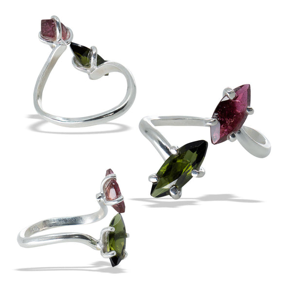 Green and Pink Tourmaline Marquise Fine Silver Infiniti Ring