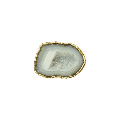 Geode Cave Gemstone 18 Karat Gold Square Ring