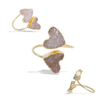 Double Hearts Druzies Gold Infiniti Ring