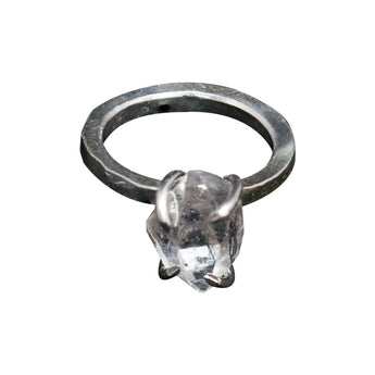 Herkimer Diamond Hand-Pounded Sterling Silver Ring - Size 6