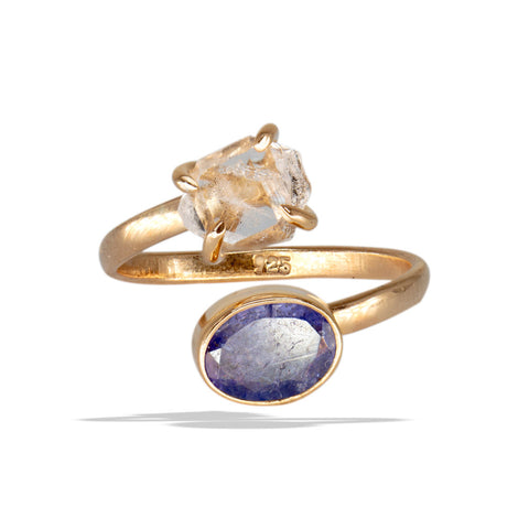 Herkimer Prong Tanzanite Bezel Rose Gold Infiniti Fine Ring