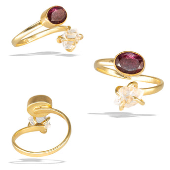 Herkimer Prong Watermelon Tourmaline Bezel Gold Infiniti Fine Ring