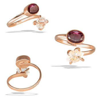 Herkimer Prong Watermelon Tourmaline Bezel Rose Gold Infiniti Fine Ring