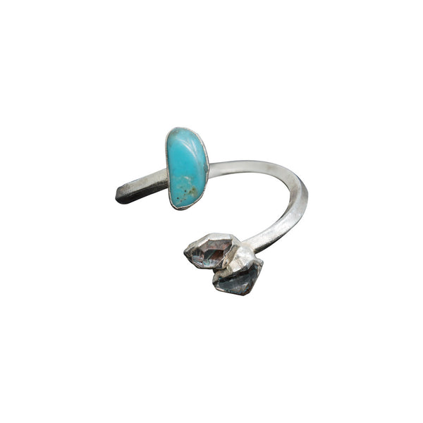 HERKIMER DIAMOND AND TURQUOISE SILVER PLATED ADJUSTABLE INFINITI RING