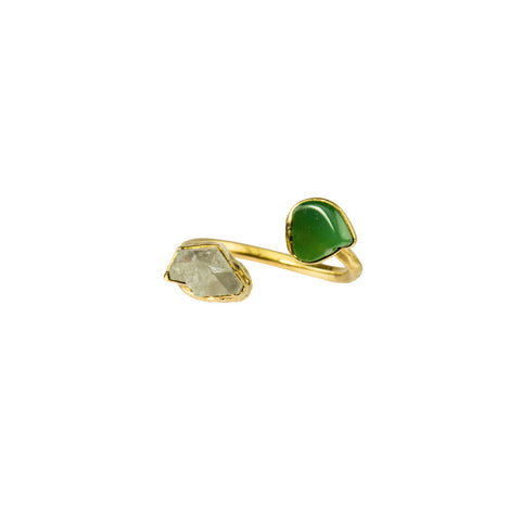 Chrysoprase and Herkimer Gemstone 18 Karat Gold Infiniti Ring