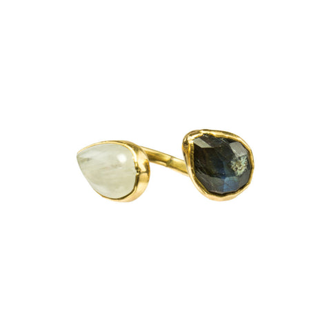 Labradorite and Moonstone Gemstone 18 Karat Gold Infiniti Ring