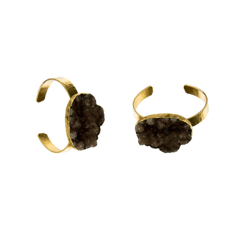 Large Druzy Gemstone 18 Karat Gold Cuff