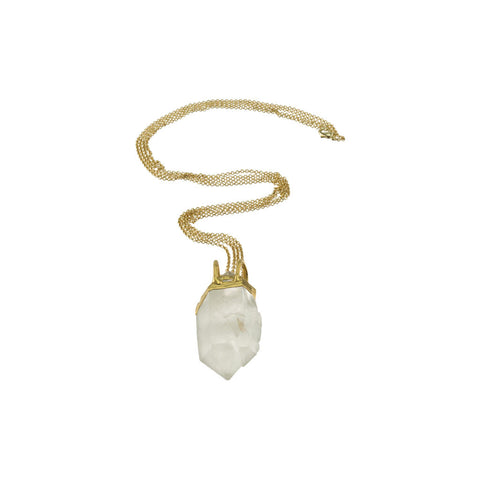 Large Crystal Quartz Pendant 18 Karat Gold Double Chain Necklace