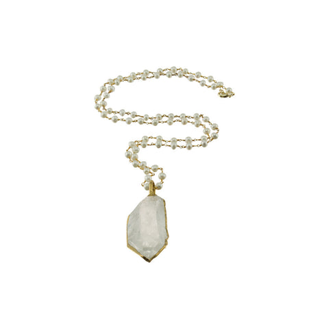 Large Crystal Quartz Pendant with Pearl Beaded Chain Necklace