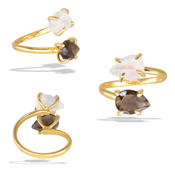 Moonstone Smokey Quartz Prong Gold Infiniti Fine Ring