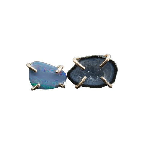 OPAL AND GEODE CAVE SOLID 14K GOLD  EARRINGS