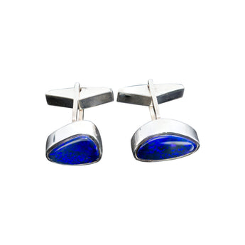 Blue Opal Solid SIlver Cufflinks