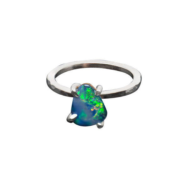 BLACK OPAL GEMSTONE SOLID HAND-POUNDED STERLING SILVER RING - SIZE 7