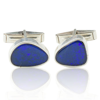 Black Opal Solid Silver Cufflinks
