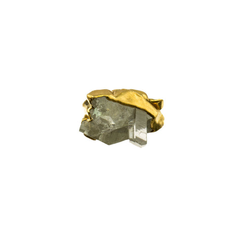 Crystal Quartz Point Gemstone 18 Karat Gold Square Ring
