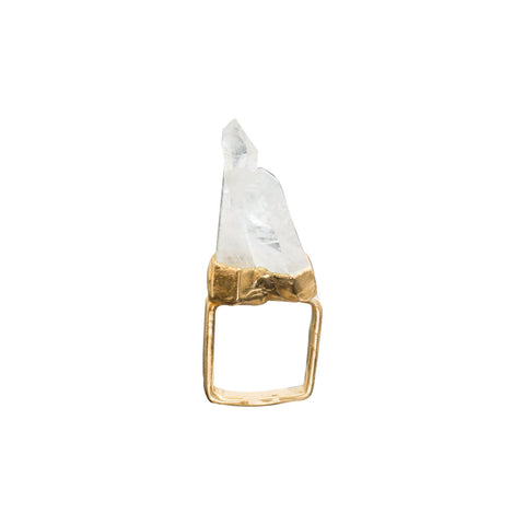 POINTED QUARTZ 18K GOLD-FILLED SQUARE RING - SIZE 5
