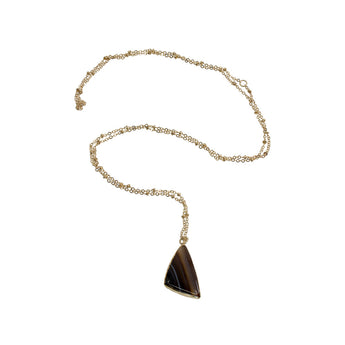 POLISHED AGATE 14K GOLD PLATED CHAIN