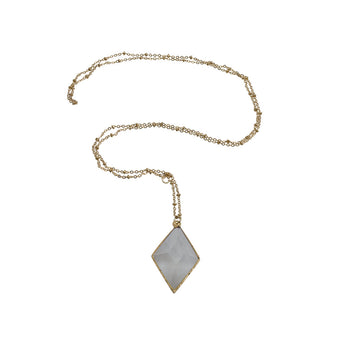 3D CUT CRYSTAL QUARTZ 14K GOLD NECKLACE