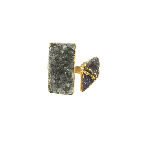 Rectangle and Double Triangle Druzy 18 Karat Gold Square Ring