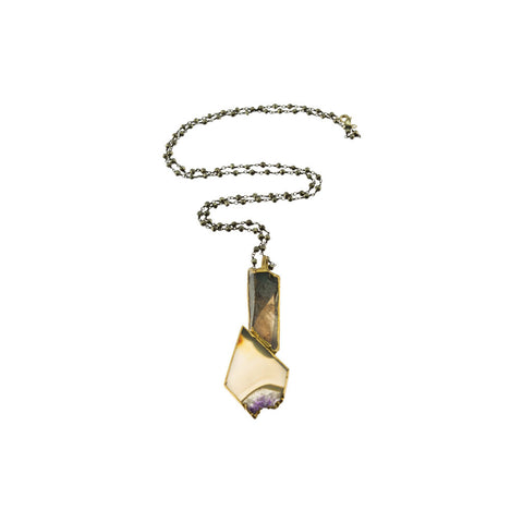 Smokey Quartz Amethyst Slice Pendant with Pyrite Beaded Chain Necklace