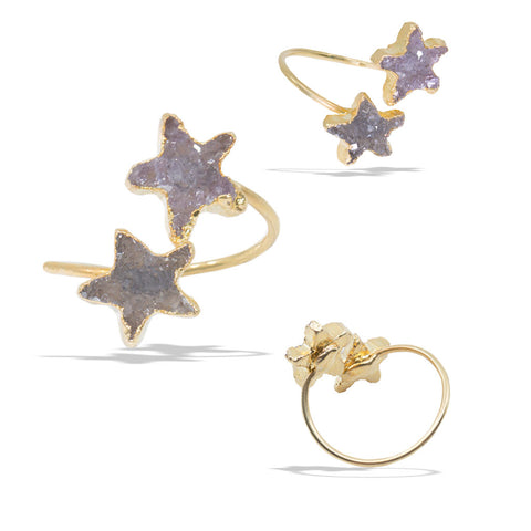 Double Star Druzies Gold Infiniti Ring