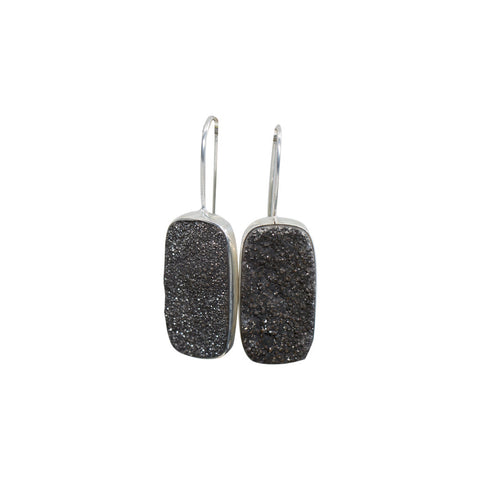 TITANIUM DRUZY STERLING SILVER EARRINGS
