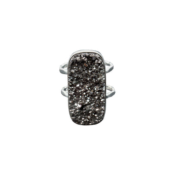 TITANIUM DRUZY SOLID SILVER DOUBLE-BAND RING - SIZE 6