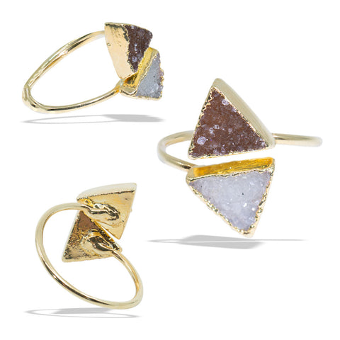 Double Triangle Druzies Gold Infiniti Ring