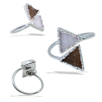 Double Triangle Druzies Silver Infiniti Ring