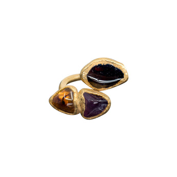 *SOLD OUT* AMETHYST, CITRINE AND GARNET 18K GOLD FILLED ADJUSTABLE INFINITI RING