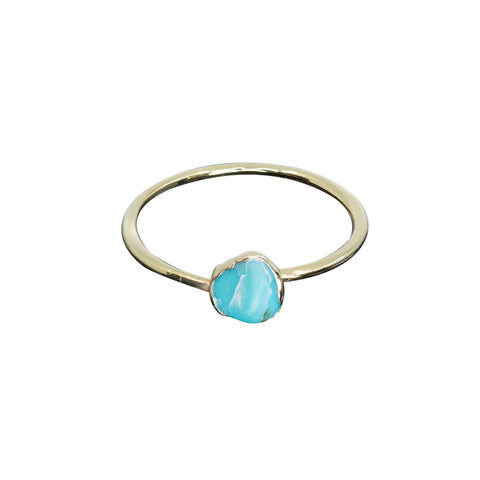 TURQUOISE 14K GOLD PLATED ADJUSTABLE RING - 6 1/2