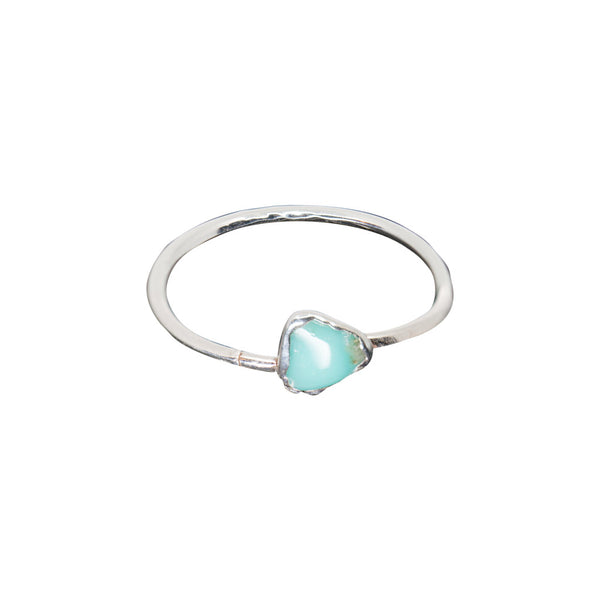 TURQUOISE SILVER PLATED ADJUSTABLE RING - SIZE 6 1/2
