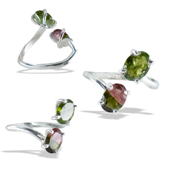Green and  Watermelon Tourmaline Fine Silver Infiniti Ring