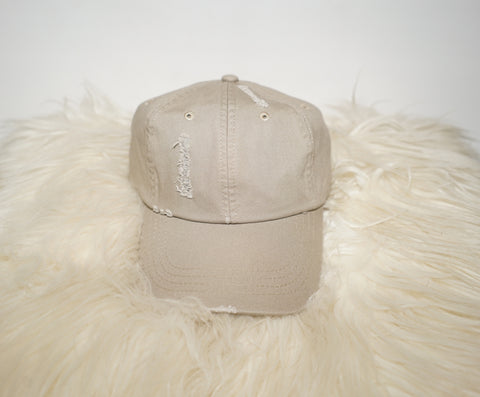 Distressed khaki cap